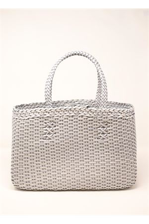 borsa fatta a mano in pelle intrecciata Laboratorio Capri | 31 | LAB51GRIGIOCHIARO