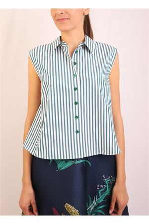 Camicia a righe bianche e verdi Laboratorio Capri | 6 | MONETARIGAVERDE