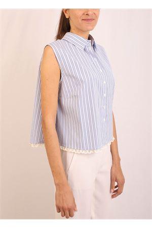 Sleeveless striped shirt with lace Laboratorio Capri | 6 | MONETATOMAS