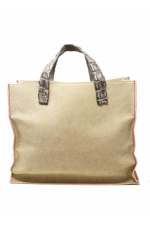 Pvc bag with handles in dark gray crocodile leather Laboratorio Capri | 31 | NINAGRIGIOSCURO