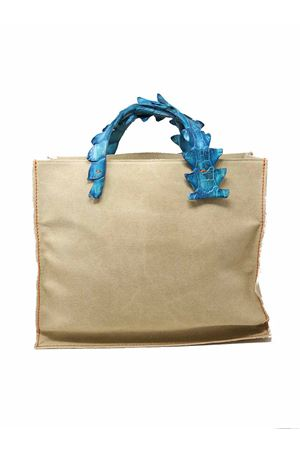 Pvc bag with handles in jade color crocodile leather Laboratorio Capri | 31 | NINAJADA