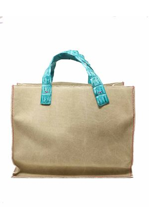Canvas  bag with handles in turquoise crocodile leather Laboratorio Capri | 31 | NINATURCHESE