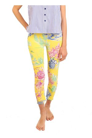 leggings in jersey with floral pattern on a yellow base Laboratorio Capri | 9 | PIZZOLUNGOCACTUSGIALLO
