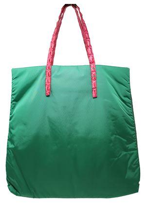 Handcrafted shopper bag in green nylon with handles in fuchsia crocodile leather Laboratorio Capri | 31 | SANTAMARIAVERDE/FUXIA
