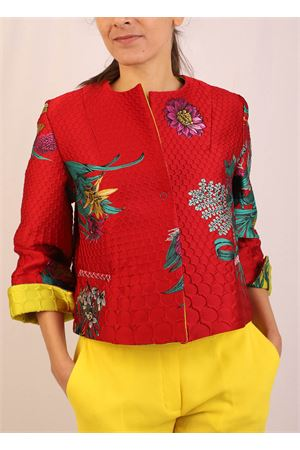 giacca corta in jacquard rosso Laboratorio Capri | 3 | TUOROROSSO