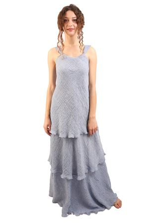 Long flounced linen dress M&E | 5032262 | ABITOTRACYJEANS