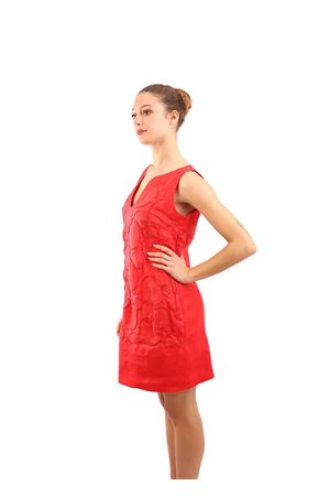 V neck linen red dress M&E | 5032262 | ABITOVIOLAROSSO