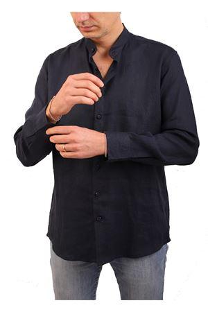 Navy blue linen shirt with mandarrin collar M&E | 6 | CAMICIA COREANA BBLU NOTTE