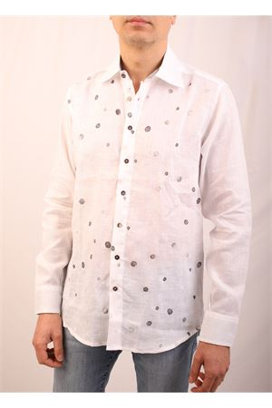 Linen tailored shirt with raised polka dots M&E | 6 | CAMICIACLASSICAPOISGREZZO