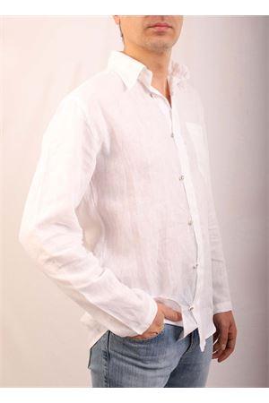 Camicia da uomo in lino bianco collo coreana M&E | 6 | CAMICIAGANCINIBIANCO
