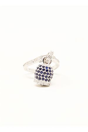 ring with capri bell in silver and blue zircons Manè Capri | 5032250 | ANELLOCAMPANELLAZIRCBLUCAPRI