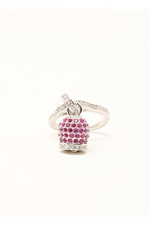 ring with capri bell in silver and bougainvillea zircons Manè Capri | 5032250 | ANELLOCAMPANELLAZIRCBOUGANVILLEA