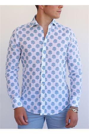 camicia uomo bianca a fantasia arabesca Portofiori | 6 | E2061TURCHESE