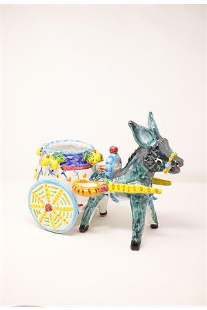 ceramic donkey with Sicilian cart Sea Gull Capri | 5032238 | ASINOCARRBLU