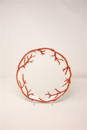 Ceramic plate with coral Sea Gull Capri | 5032235 | PIATTOPIANOCOCORALLO