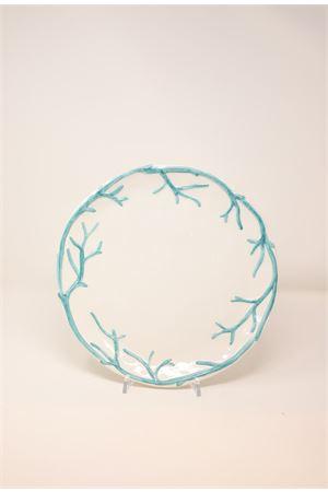 turquoise ceramic dinner plate with corals Sea Gull Capri | 5032235 | PIATTOPIANOTTURCHESE