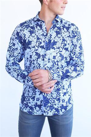 Camicia in lino a fiori blu Vincenzo De Lauziers | 6 | AC503AVIONBLU