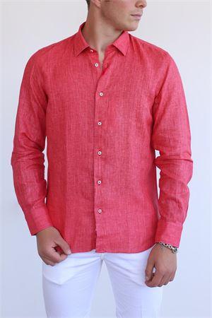 coral color linen shirt for men Vincenzo De Lauziers | 6 | DR304CORALLO