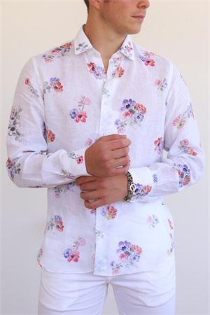 Camicia in lino a fiori colorati Vincenzo De Lauziers | 6 | LG352BIANCAVIOLA