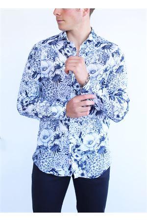 Camicia da uomo fantasia a fiori bianchi e blu Vincenzo De Lauziers | 6 | TX515BIANCOBLU