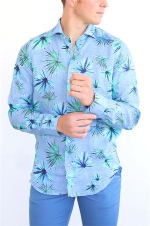 Camicia da uomo in lino fantasia a palme Vincenzo De Lauziers | 6 | TX515PALME