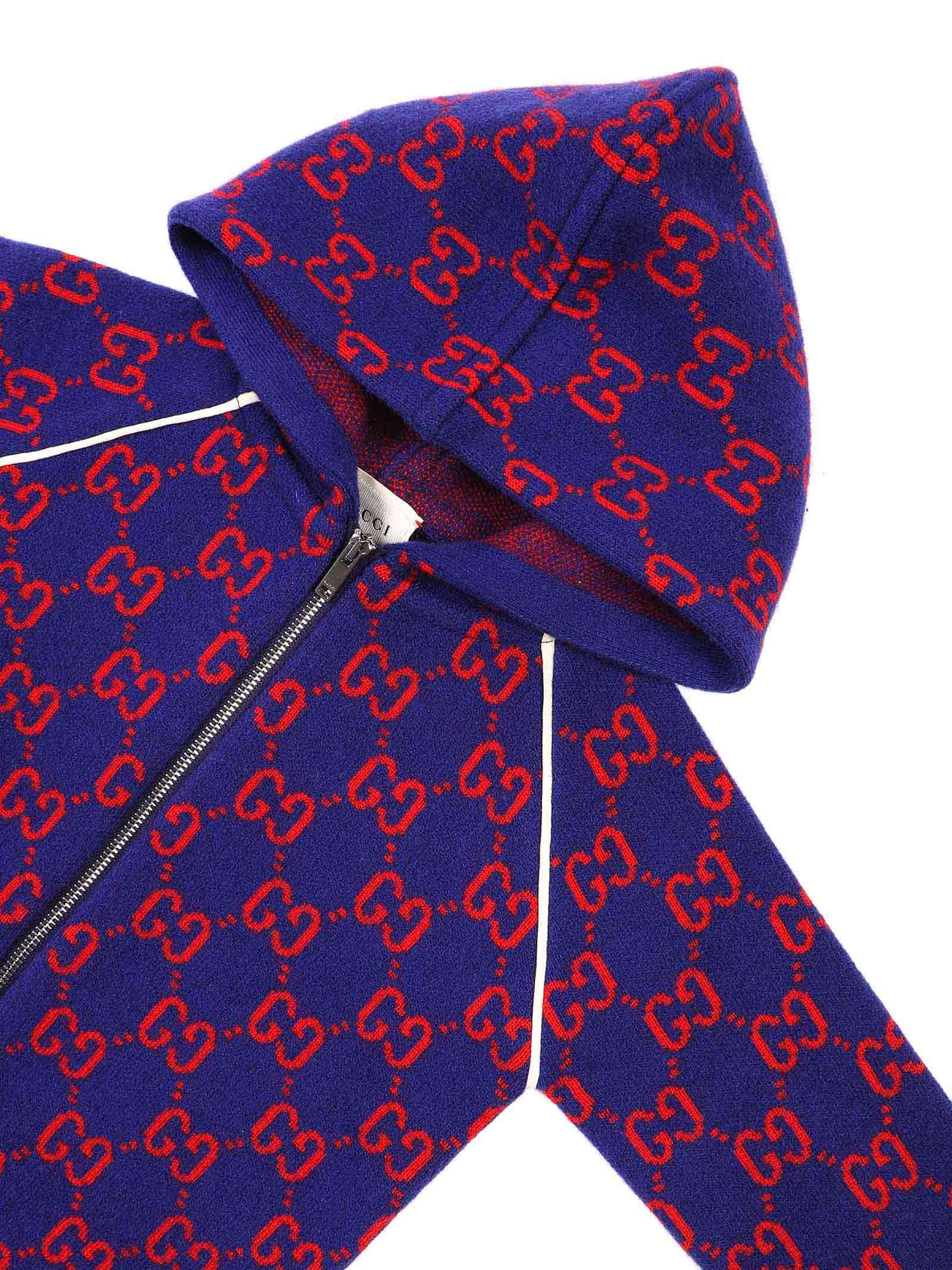 cardigan fondo blu logato rosso Gucci   Cardigan   615412 XKBD74175
