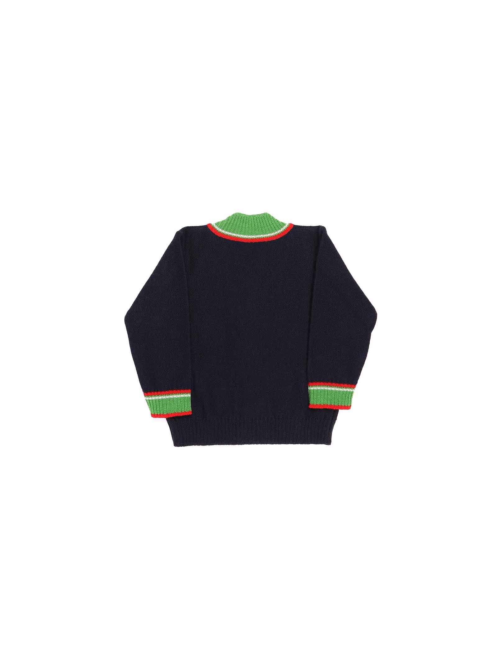 cardigan blu con bordo verde e rosso Gucci | Cardigan | 615415 XKBD84585