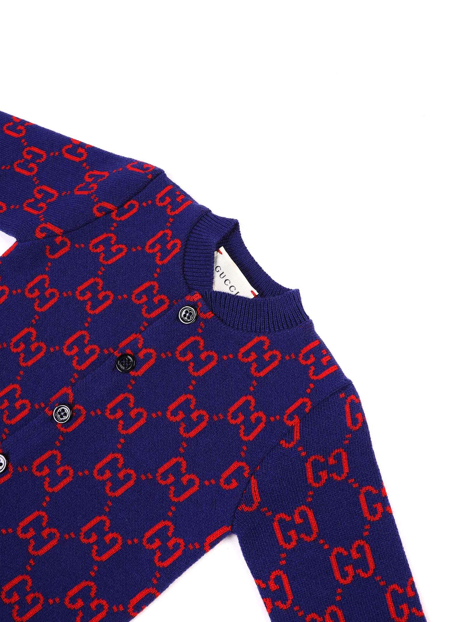 tutina fondo blu con logo rosso Gucci   Tutina   621875 XKBGY4175