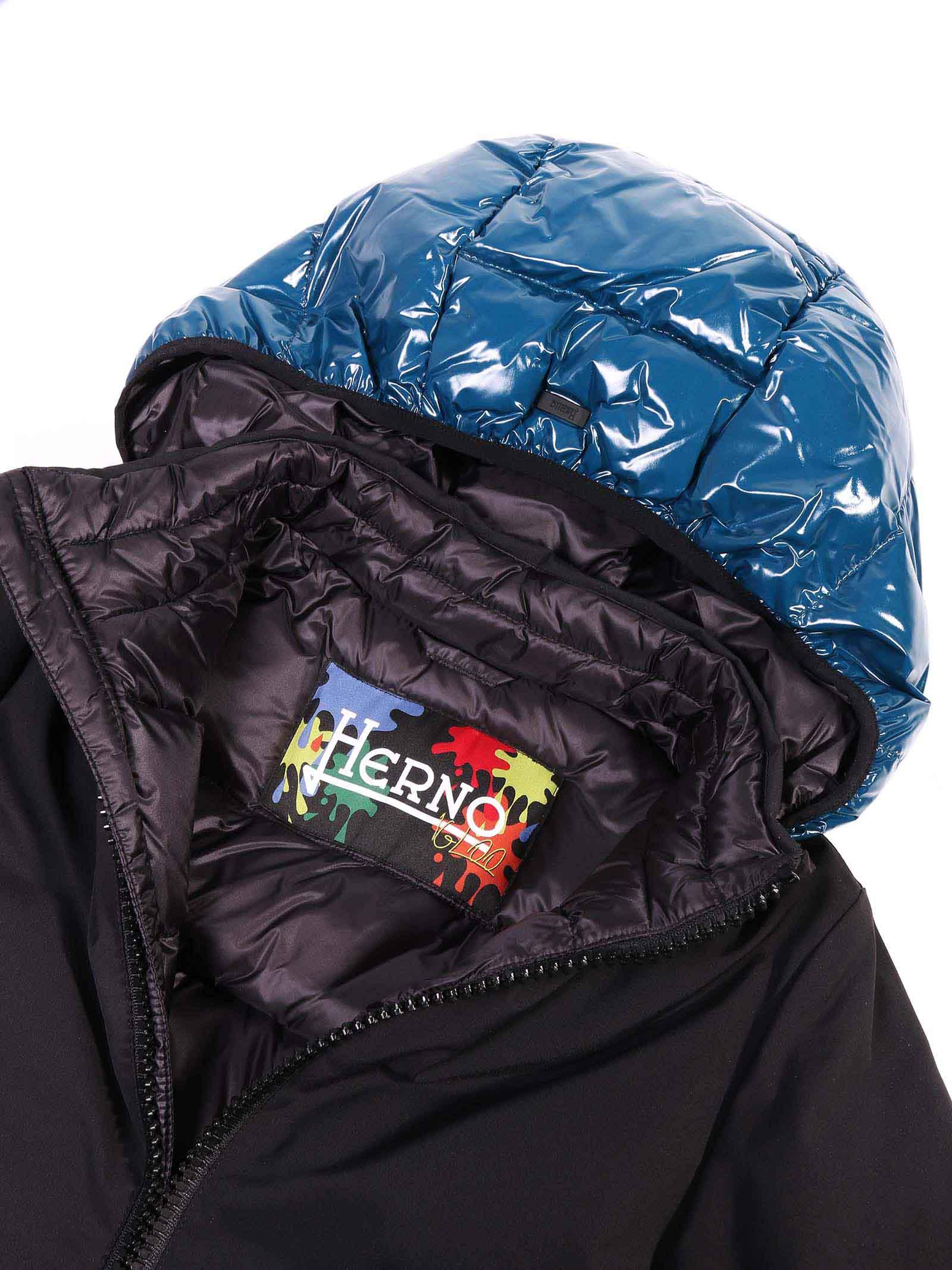 giubbino nero con cappuccio azzurro HERNO | Giubbino | PI0102B-123439391