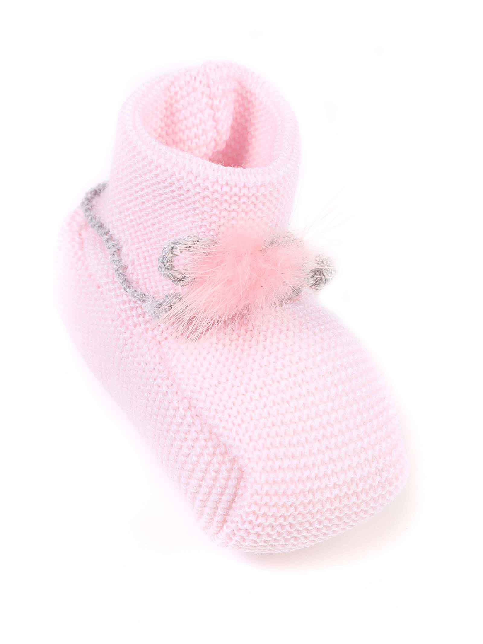 scarpina baby rosa cn bordo grigio MARLU | Scarpina | IP14SC311