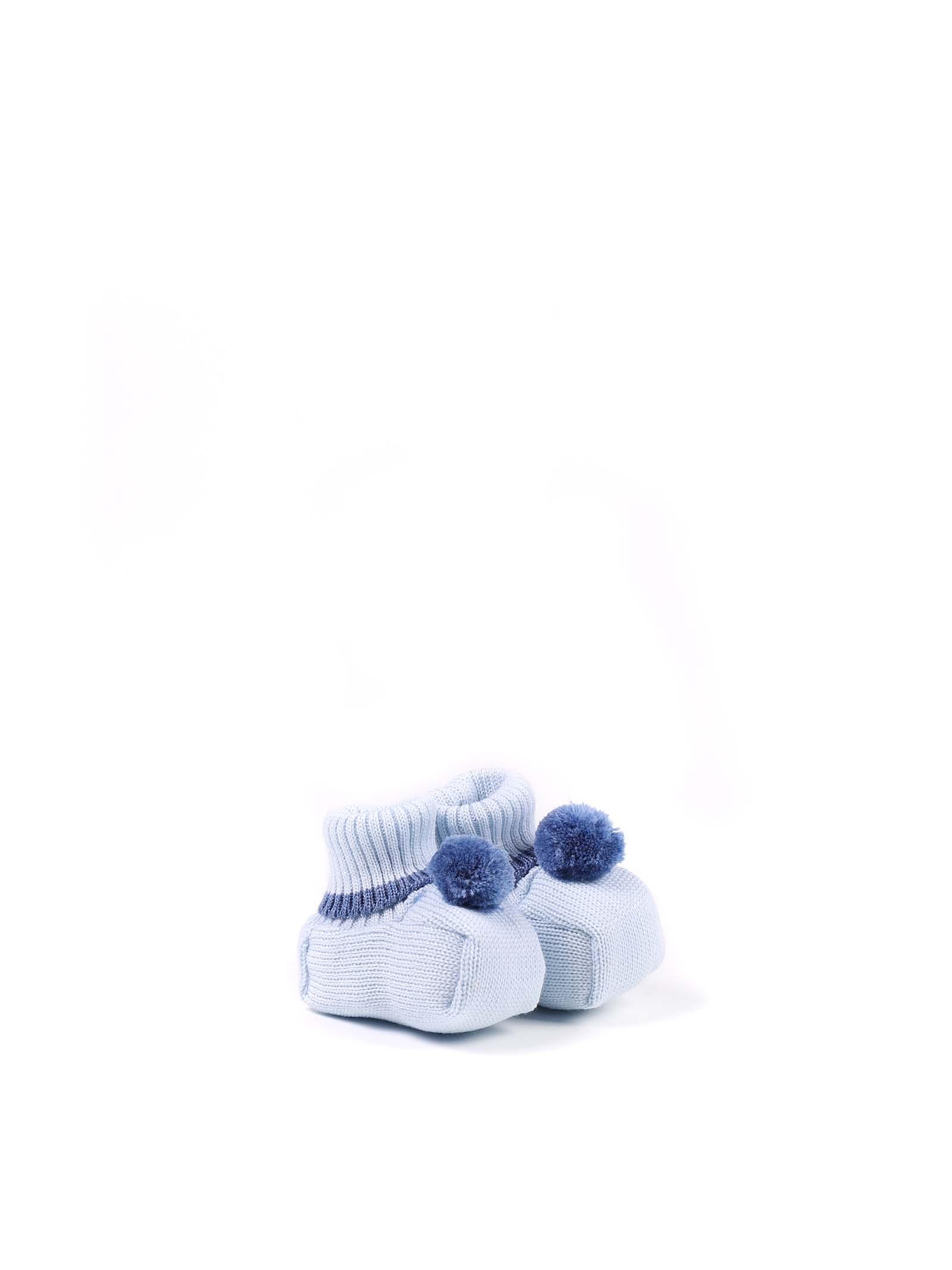scarpina baby celeste con bordino blu MARLU   Scarpina   IP60SC412