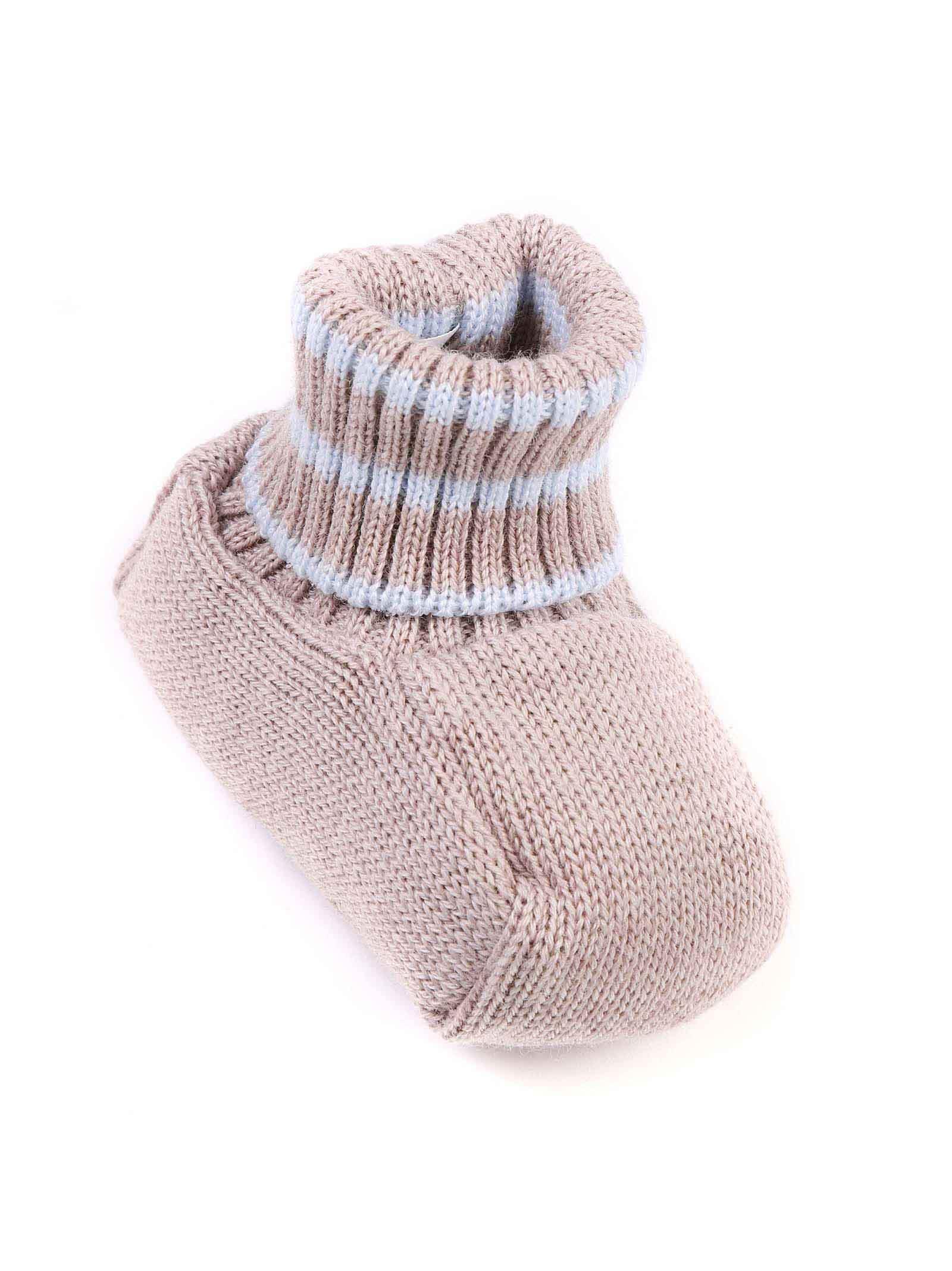 scarpina baby beige con strisce caviglia celesti MARLU | Scarpina | IP64SC384