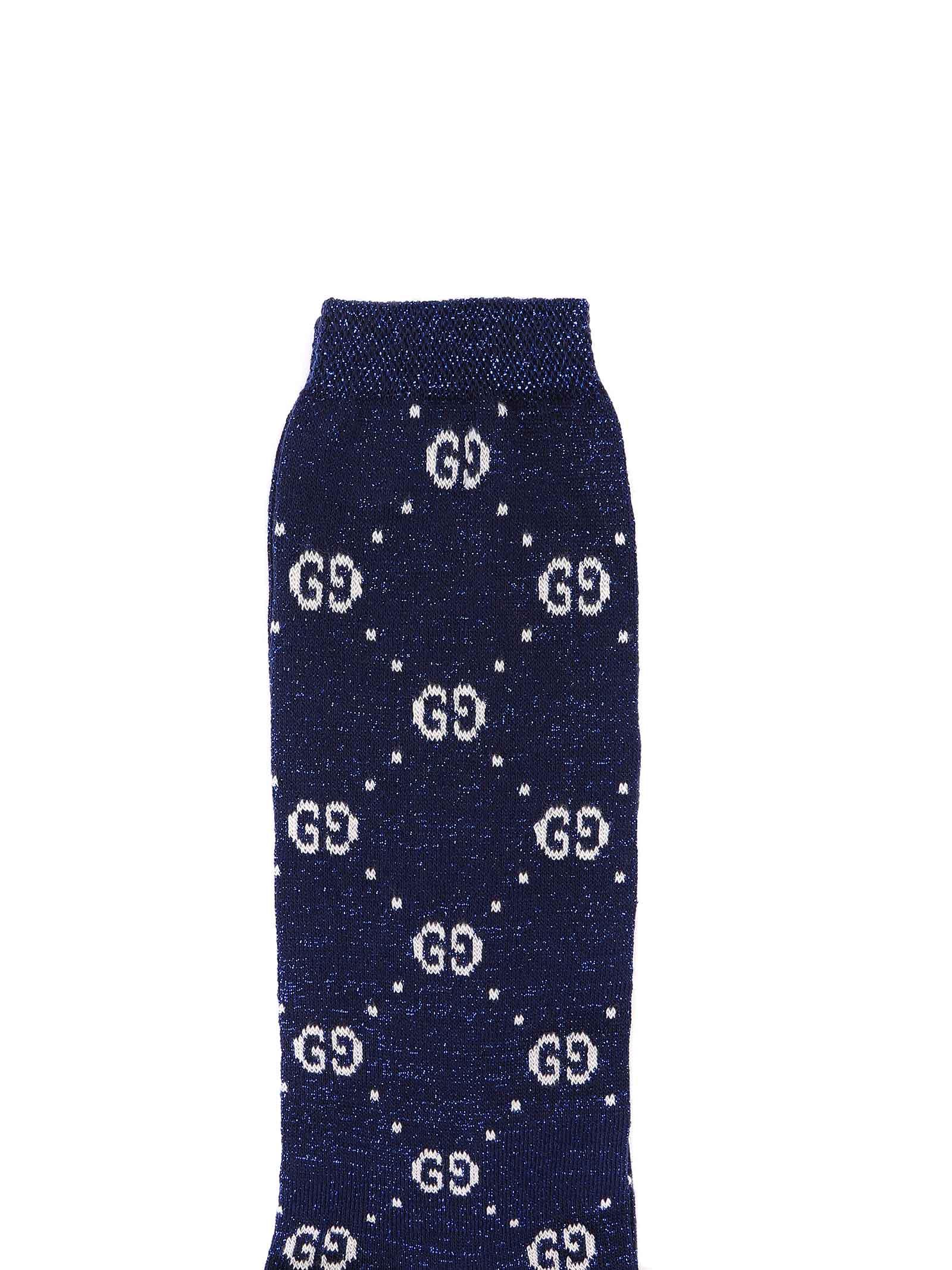 calzini fondo blu lurex con logo bianco Gucci | Calzini | 480715 4K4434278