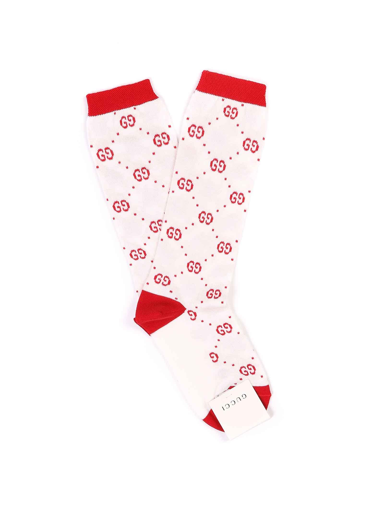 calzini fondo bianco logato rosso Gucci   Calzini   503509 4K5419274