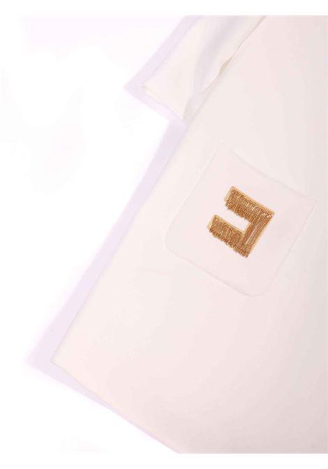 abito bianco girocollo con dettaglio sulle tasche Elisabetta Franchi | Abito | EFAB309-TV598-ZE0220075