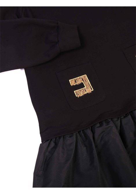 abito nero in felpa con cappuccio e applicazioni sulle tasche Elisabetta Franchi | Abito | EFAB313-FE001-ZE0220076