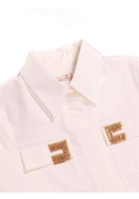 camicia bianco con colletto e dettaglio sulle tasche Elisabetta Franchi | Camcia | EFCA114-CA248-ZE0220075