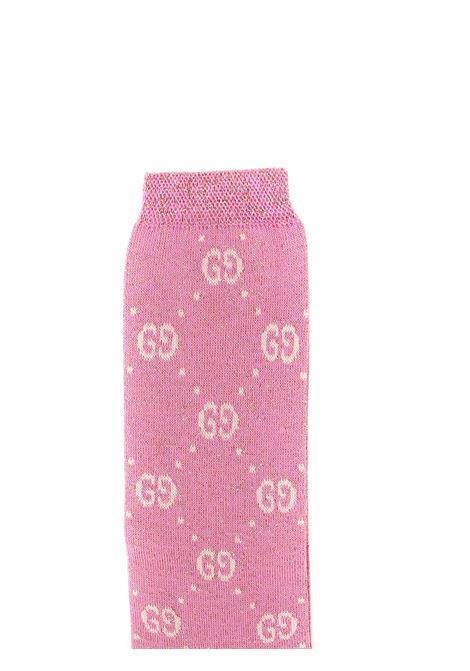 calzini fondo rosa glitterato con logo avorio Gucci   Calzini   480715 4K4435878