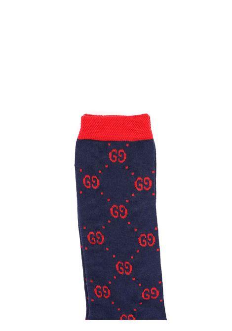 calzini fondo blu logati rosso Gucci | Calzini | 503509 4K5414174