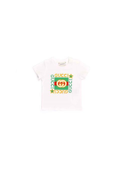 t-shirt bianca con logo Gucci | T-shirt | 548034 XJCPU9061