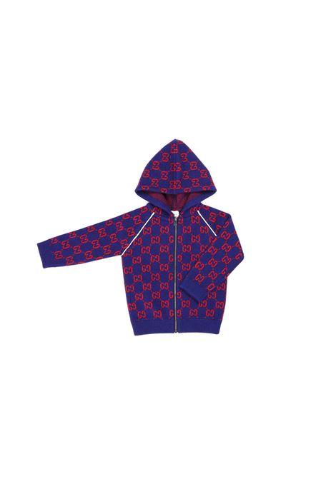 cardigan fondo blu logato rosso Gucci | Cardigan | 615412 XKBD74175