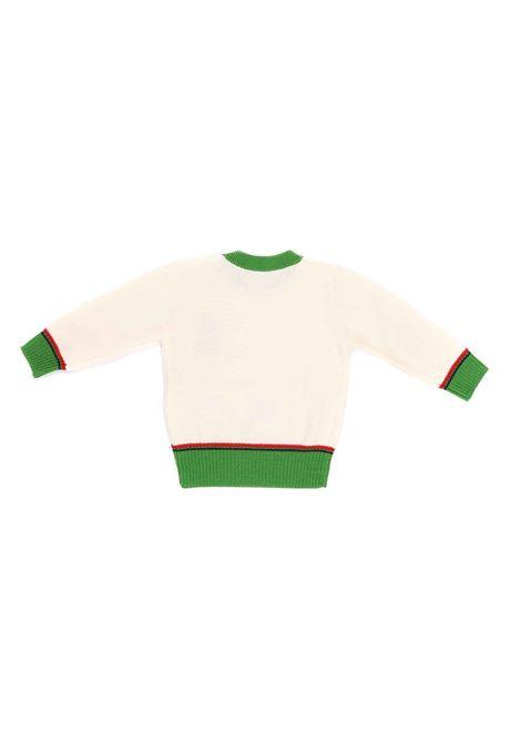 maglia panna con bordi verde e rosso Gucci | Maglia | 616378 XKBEK9064