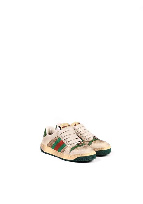 scarpa beige con logo marrone e strisce rosso e verdi Gucci | Scarpe | 626625 G17609666