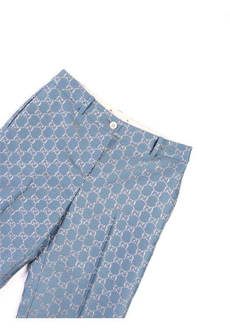 pantalone logato in argento Gucci | Pantalone | 629030 ZAD7L4635