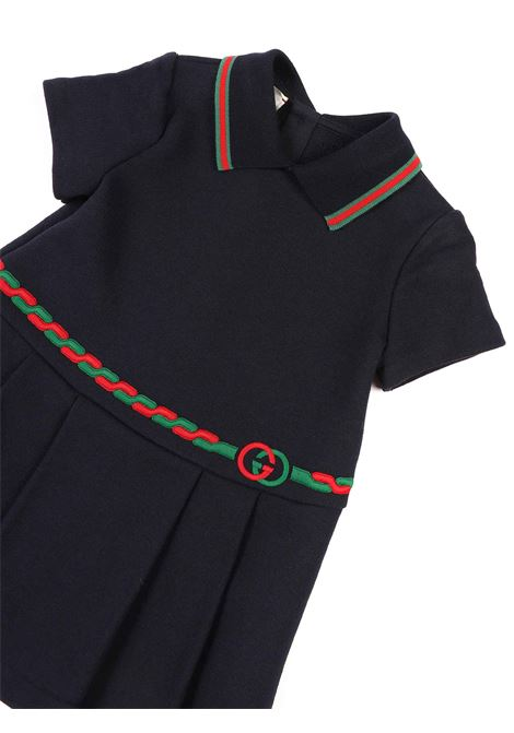 abito blu con dettaglio sul colletto e in vita Gucci | Abito | 630561 XJCSG4264