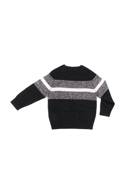 maglia nero con striscia grigio e bianca Paolo Pecora | Maglia | P2400GRIGIO
