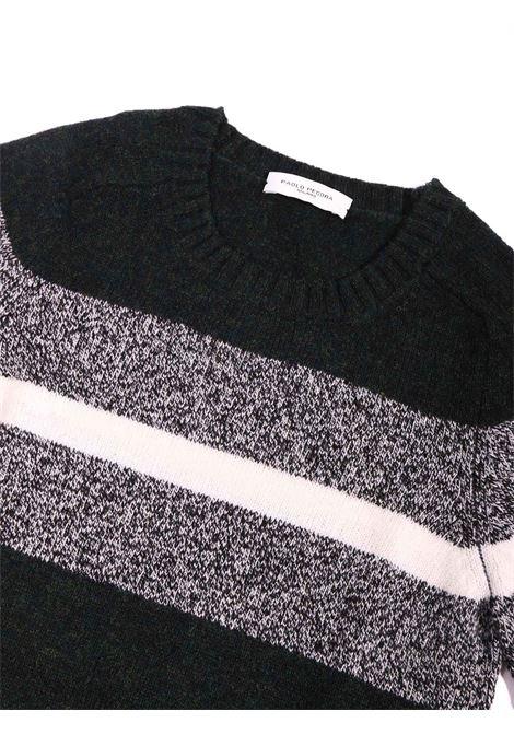 maglia nero con striscia grigio e bianca Paolo Pecora   Maglia   P2400GRIGIO