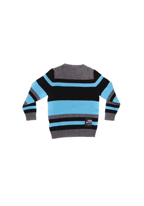 maglia a strisce grigio nero e azzurro Paolo Pecora   Maglia   P2402NERO
