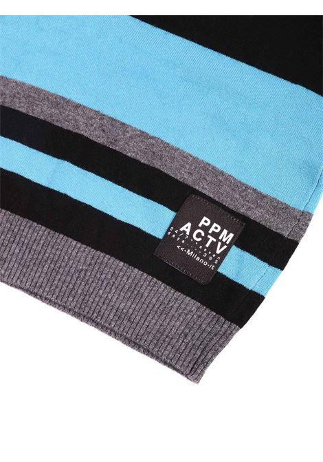 maglia a strisce grigio nero e azzurro Paolo Pecora | Maglia | P2402NERO