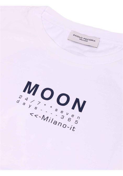 t-shirt bianco con scritta e stampa sul retro Paolo Pecora | T-shirt | P2422BIANCO